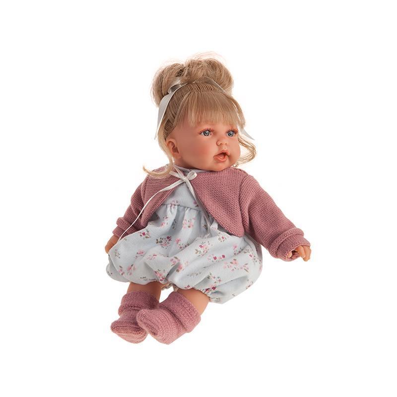 Papusa fetita blonda Petit, cu hainute albastre si roz, cu sunet, 27 cm, Antonio Juan