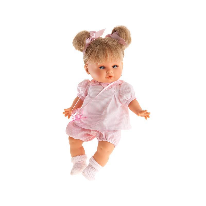 Papusa fetita Dato Primavera blonda cu doua codite si hainute roz, cu sunet, Antonio Juan