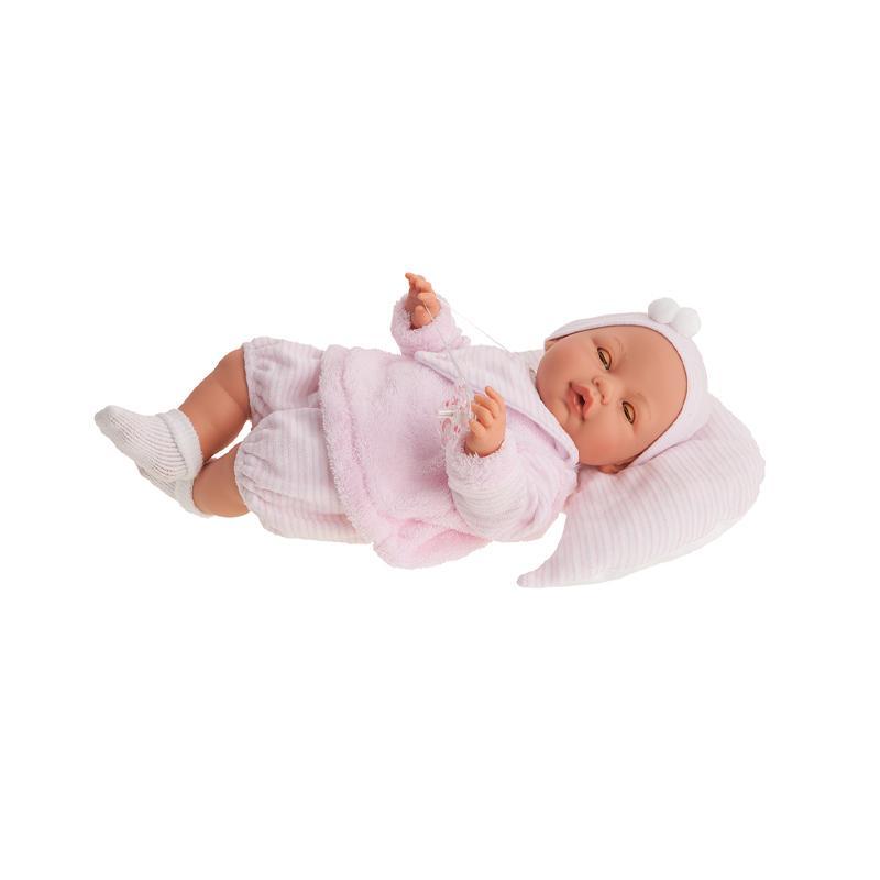 Papusa fetita Bimba Rosa de 37 cm, cu perinita si hainute roz, Antonio Juan