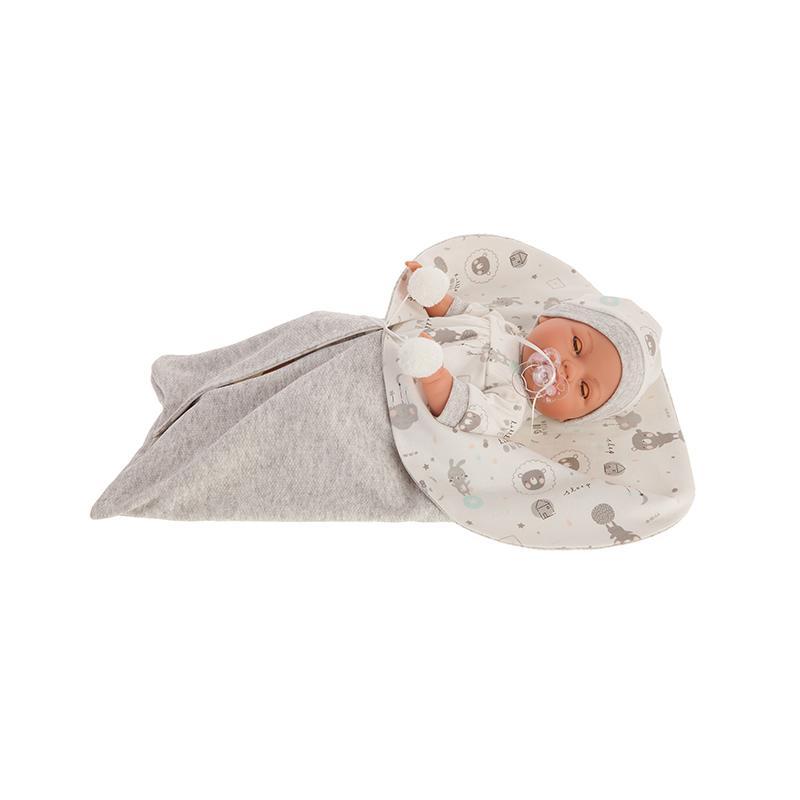 Papusa fetita Bimbo, cu saculet de dormit gri, 37 cm, Antonio Juan
