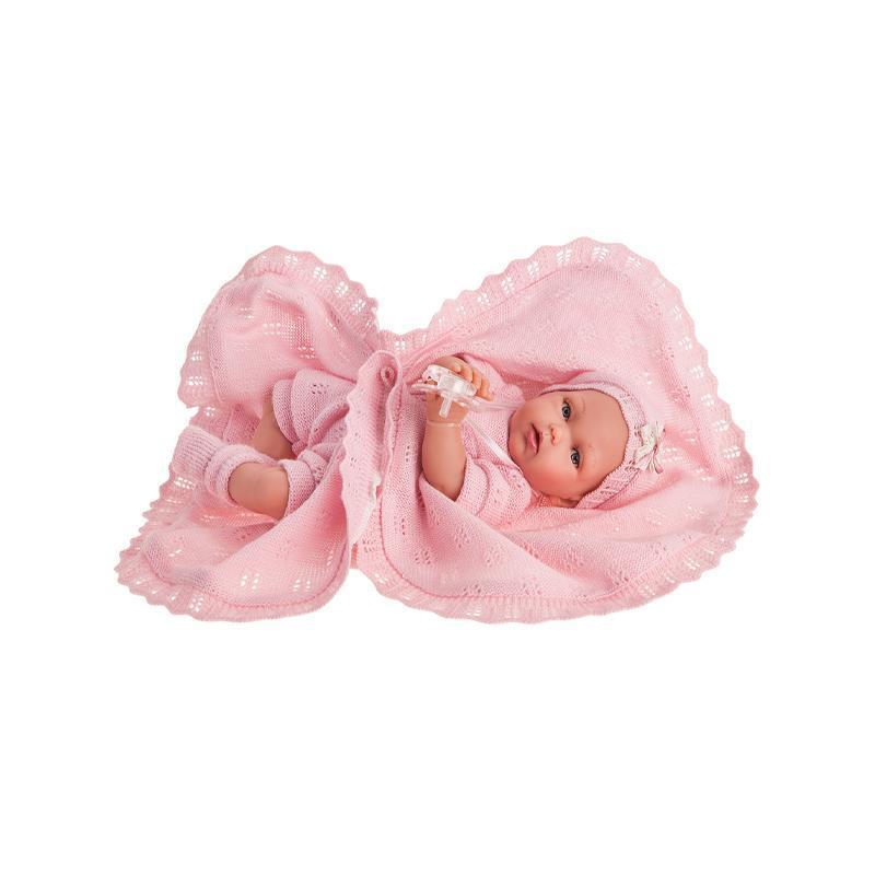 Papusa fetita Peke posturitas, cu paputrica roz, 29 cm, Antonio Juan