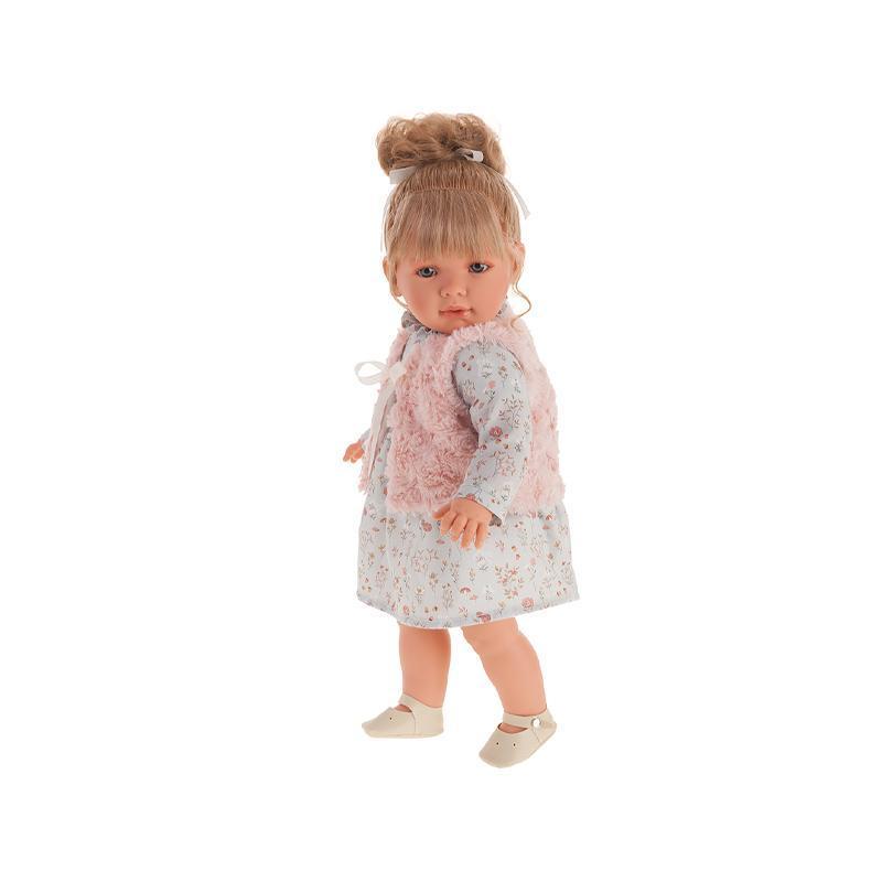 Papusa fetita blonda Lula, cu vestuta roz, 55 cm, Antonio Juan
