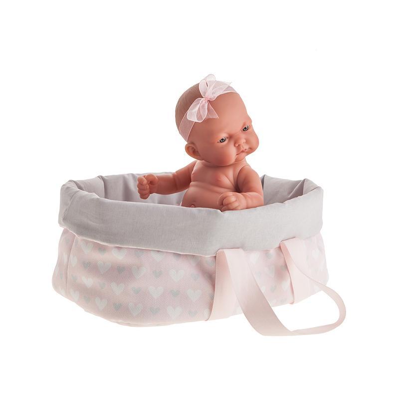 Papusa bebe realist Pitu cu landou, corp anatomic, roz, Antonio Juan