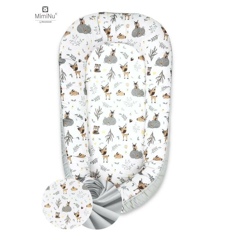 MimiNu - Cosulet bebelus pentru dormit, Baby Nest 105x66 cm, Forest Friends Grey/Beige imagine