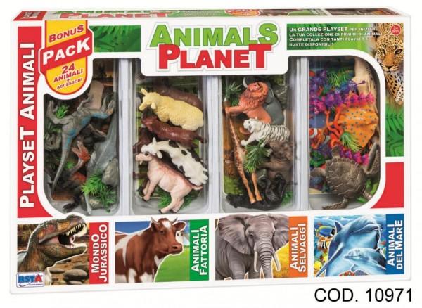 Set animalele planetei RS Toys in cutie 24 animale si accesorii