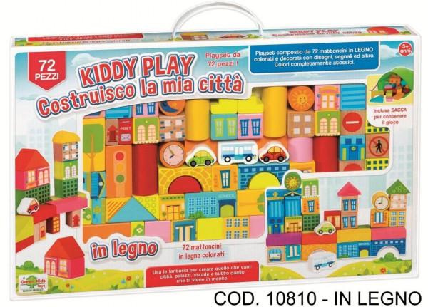 Set constructie Orasul meu din lemn RS Toys 72 piese cu desene
