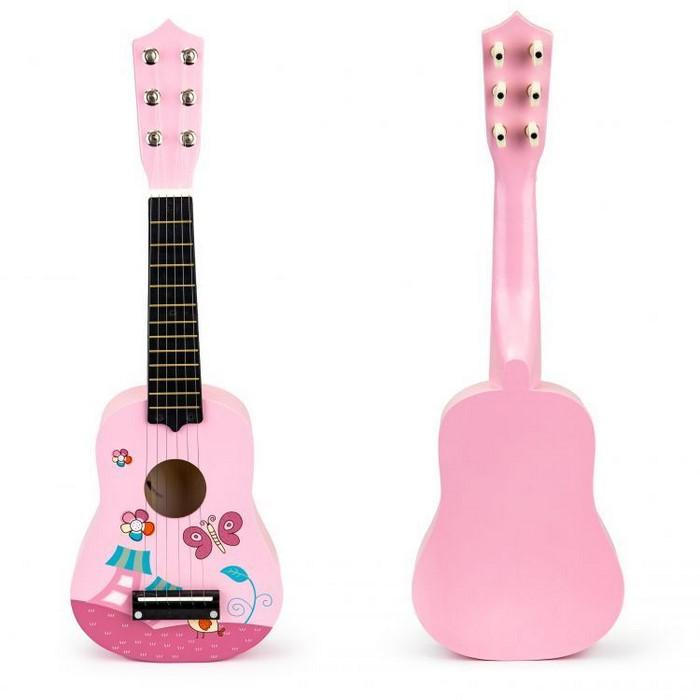 Chitara din lemn pentru copii cu corzi metalice ecotoys f018pink imagine