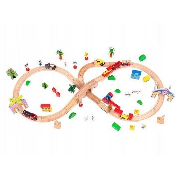 Circuit din lemn cale ferata din 78 piese ecotoys hm008999