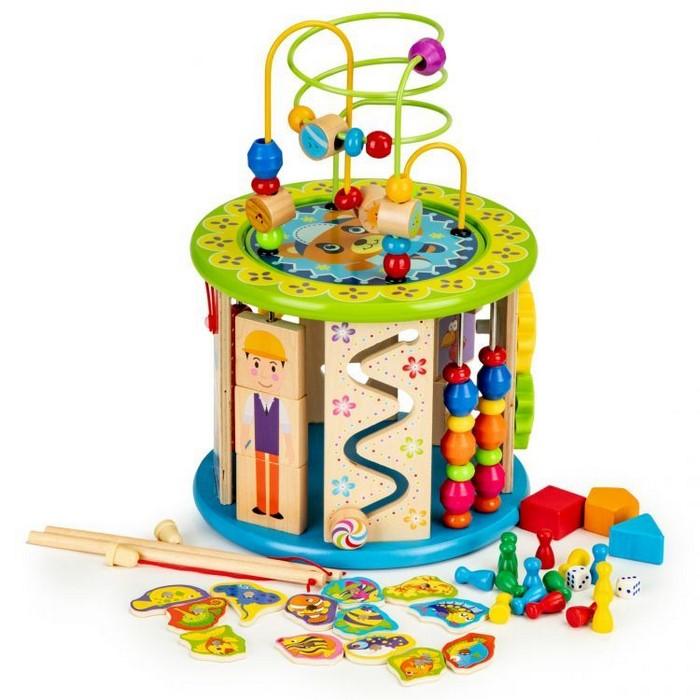 Cub educational din lemn cu jocuri, blocuri si pescuit ecotoys hm175920 imagine
