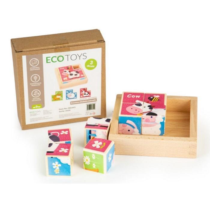Cuburi educationale din lemn tip puzzle zoo ecotoys ma443 imagine