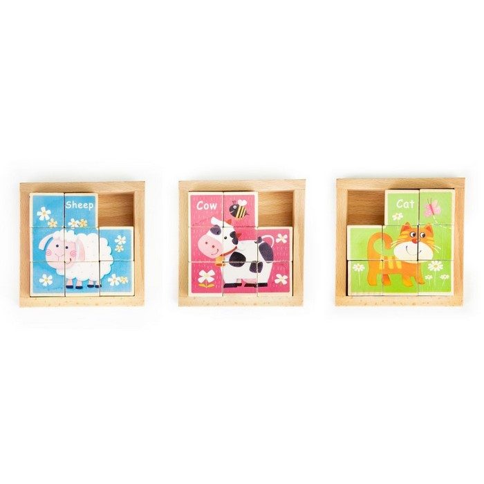 Cuburi educationale din lemn tip puzzle zoo ecotoys ma443
