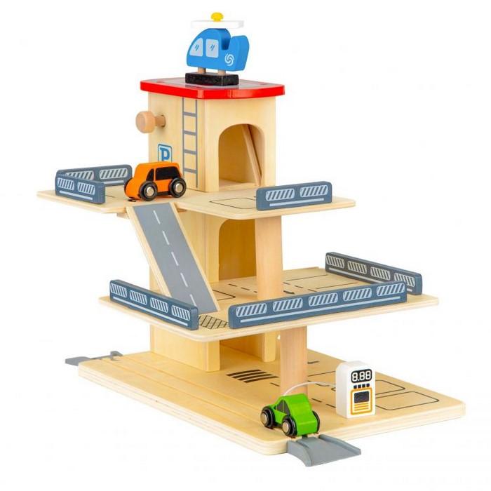 Rampa cu garaj si lift din lemn + masinute ecotoys 1081