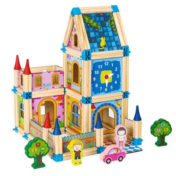 Set de constructii casa 6 in 1 din blocuri din lemn ecotoys ma429 imagine