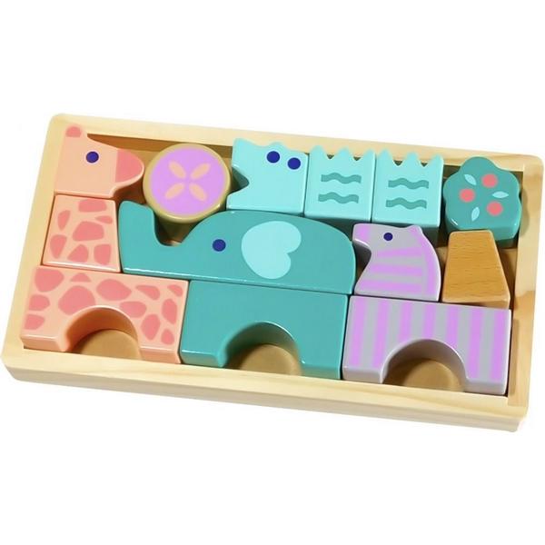 Set figurine animale din lemn ecotoys, cutie din lemn