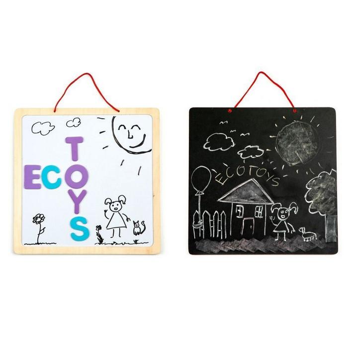 Tabla educationala 3 in 1 cu litere magnetice ecotoys esc-w-018a imagine