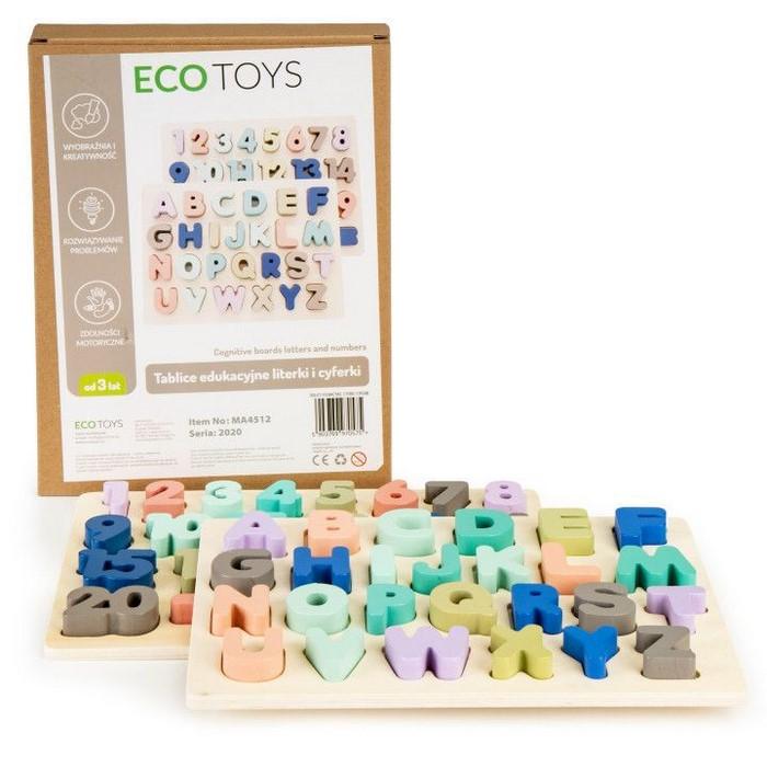 Tabla educationala din lemn cu cifre si litere - 51 de elemente ecotoys ma4512 imagine