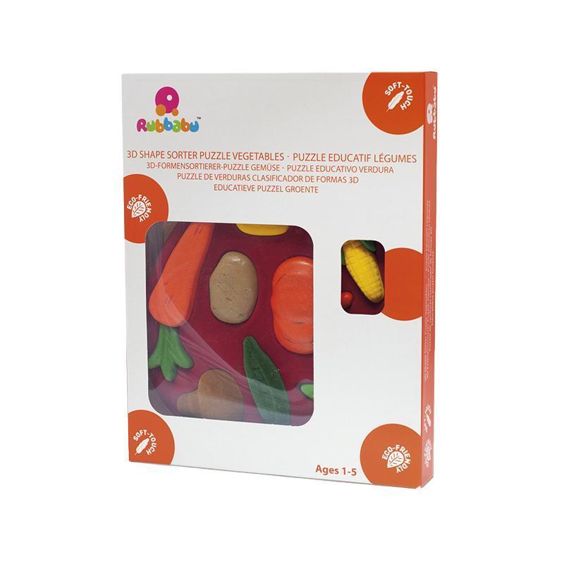 Jucarie sortator forme 3D din cauciuc natural Legumele, Rubbabu imagine