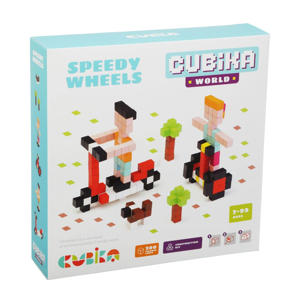 Joc din lemn, set de constructii, cubika, world speedy wheels