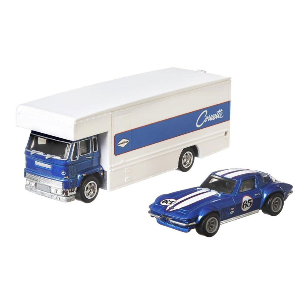 Camion Hot Wheels by Mattel Car Culture Coupe Fleet Flyer cu masina Custom Corvette