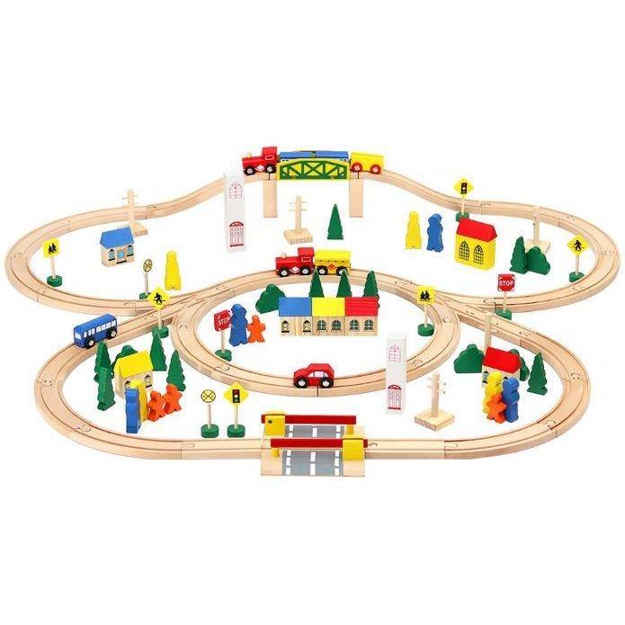 Circuit Trenulet din Lemn 100 piese Iso Trade MY17467