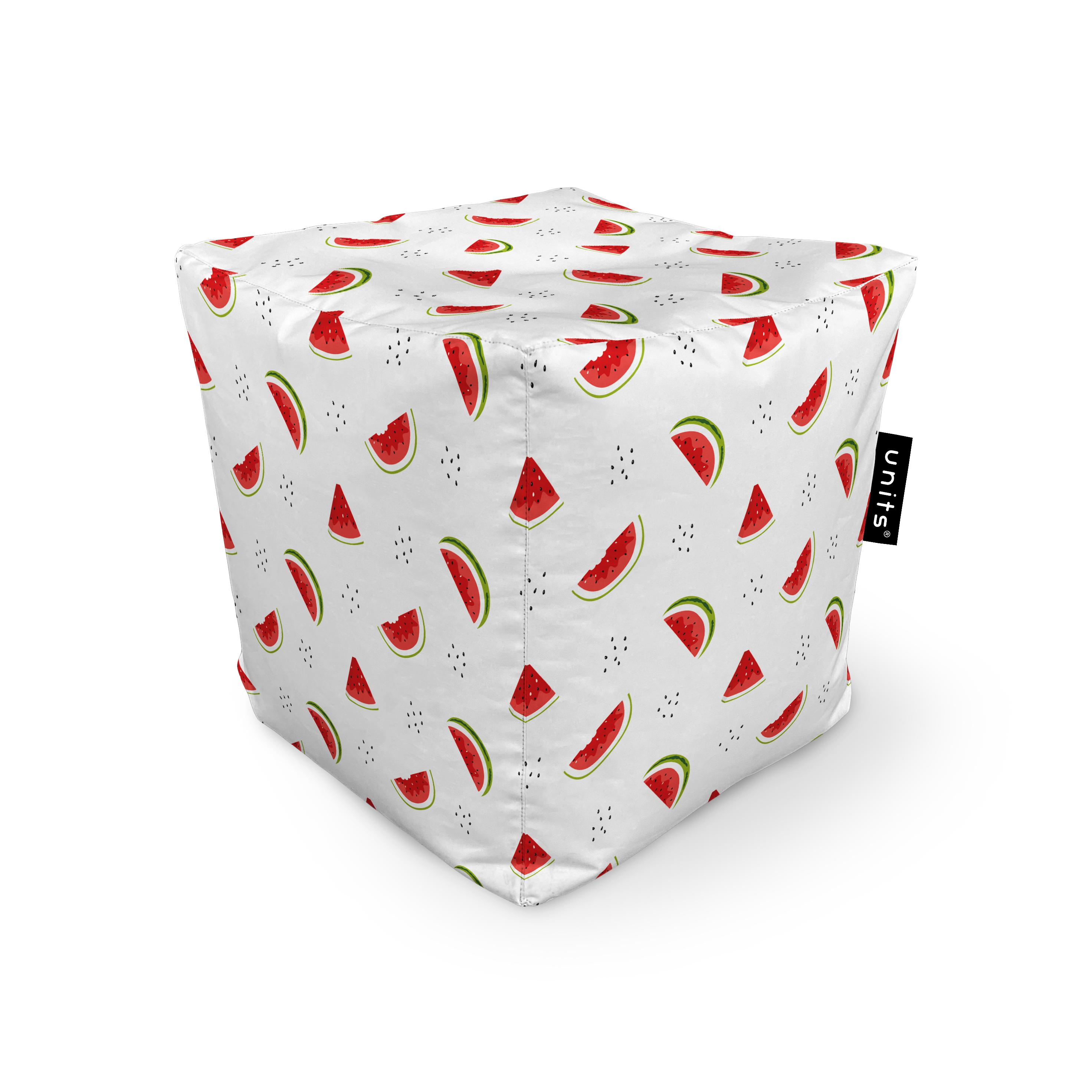 Fotoliu units puf (bean bags) tip cub, impermeabil, alb cu felii de pepene imagine