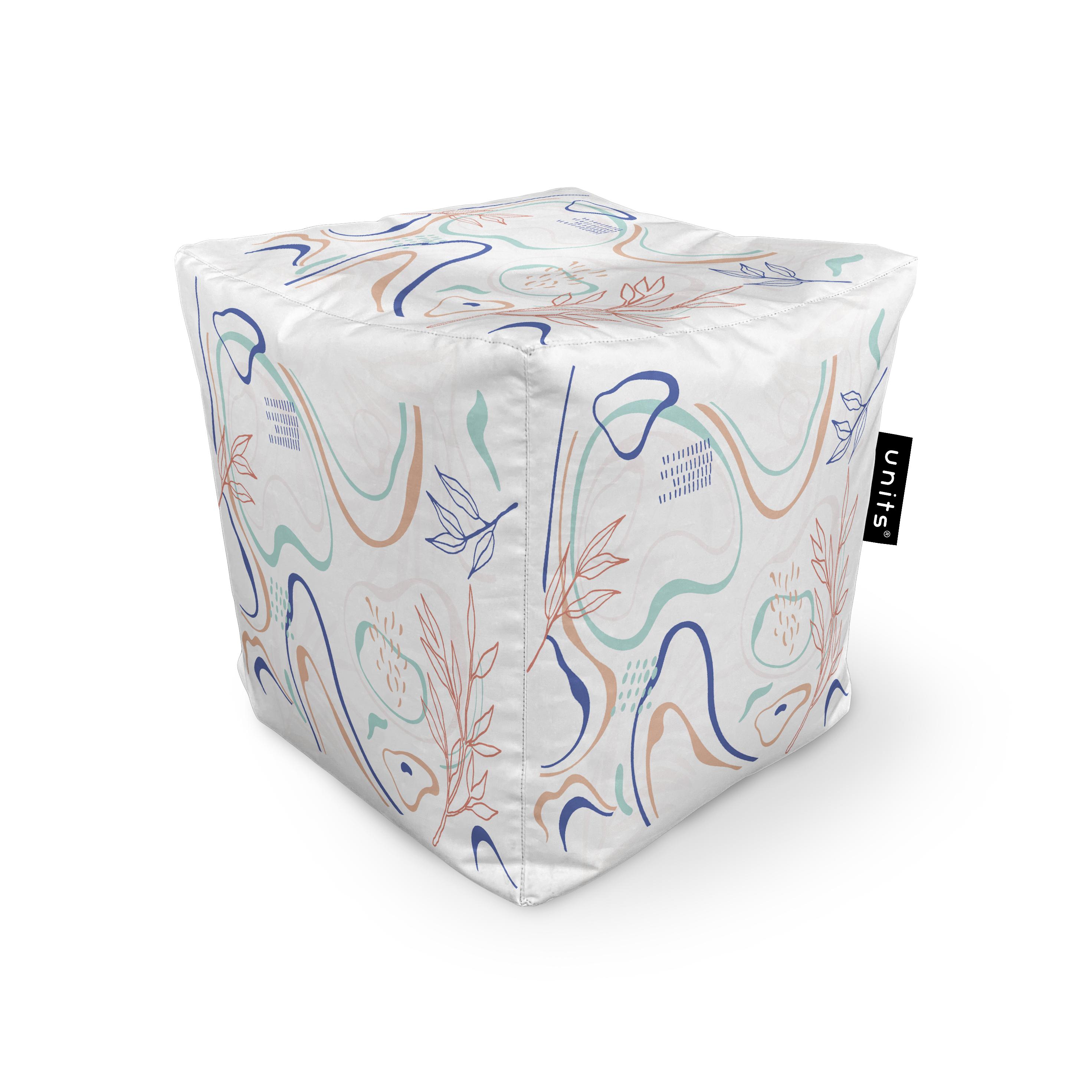 Fotoliu units puf (bean bags) tip cub, impermeabil, alb cu linii albastre si crem imagine