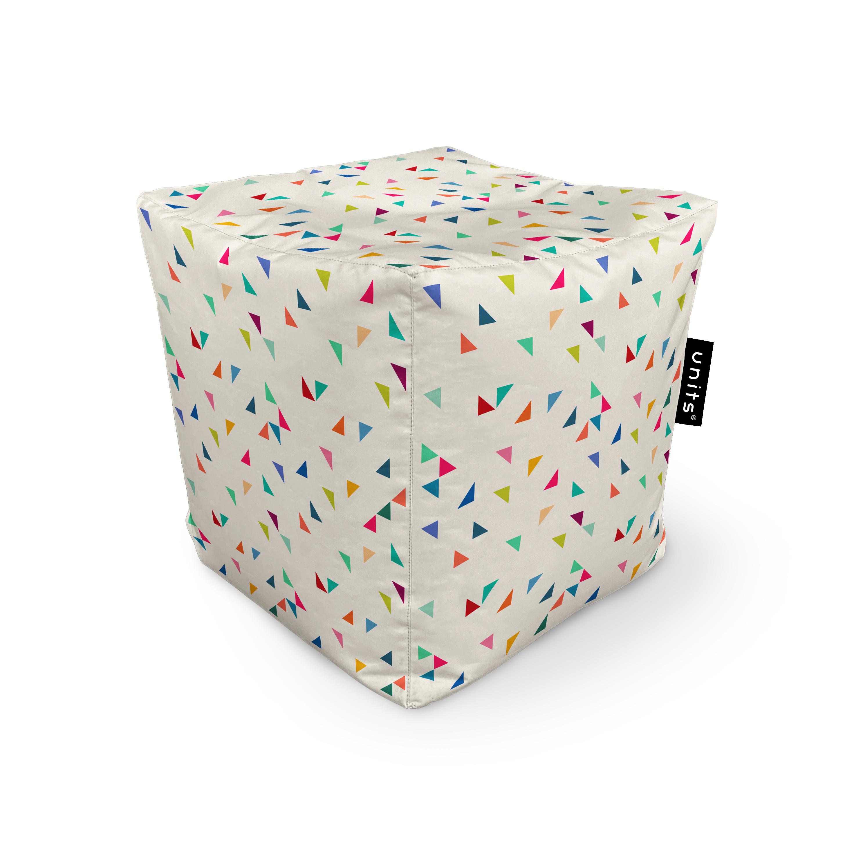 Fotoliu units puf (bean bags) tip cub, impermeabil, bej cu triunghiuri multicolore imagine