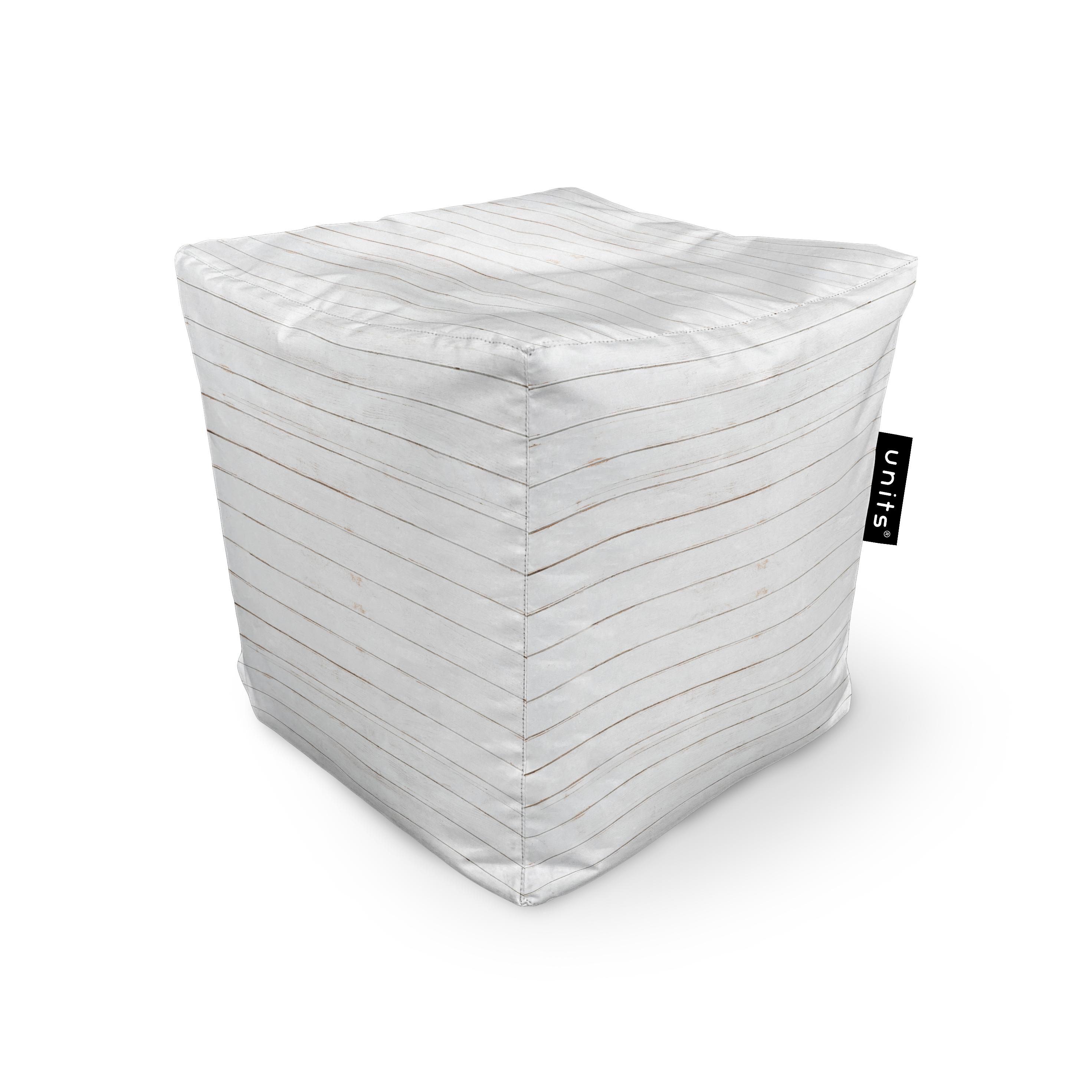 Fotoliu units puf (bean bags) tip cub, impermeabil, lemn alb imagine