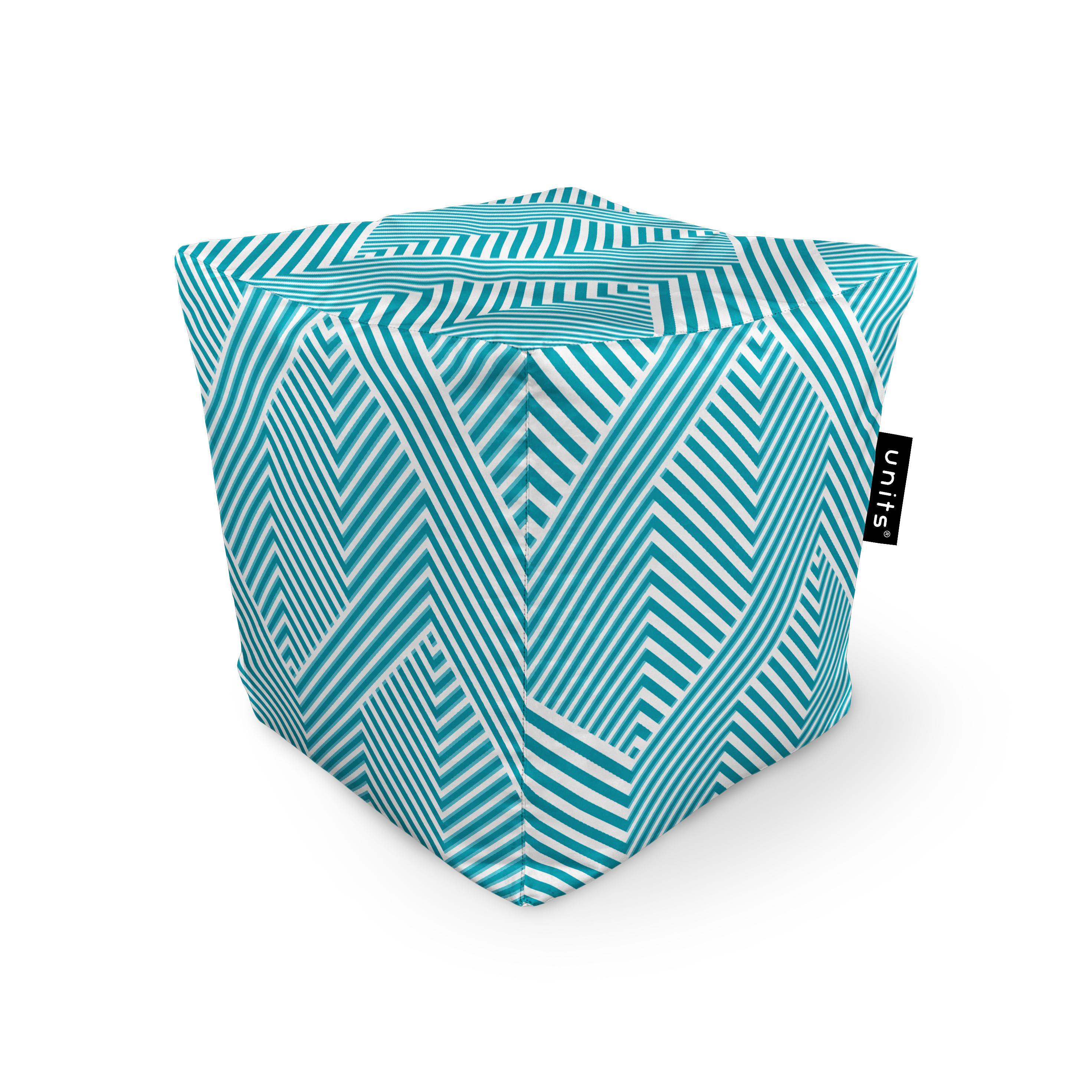 Fotoliu units puf (bean bags) tip cub, impermeabil, motiv alb cu bleu imagine