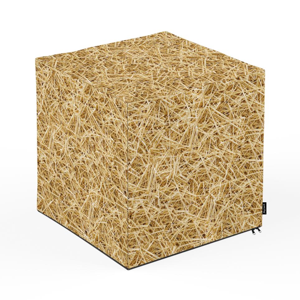 Taburet units, cub, paie, 45 x 45 x 45 cm imagine