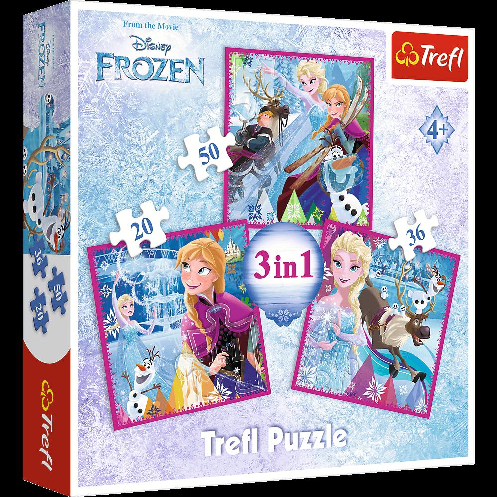 Set puzzle 3 in 1 Trefl Disney Frozen 2, Magia iernii, 1x20 piese, 1x36 piese, 1x50 piese