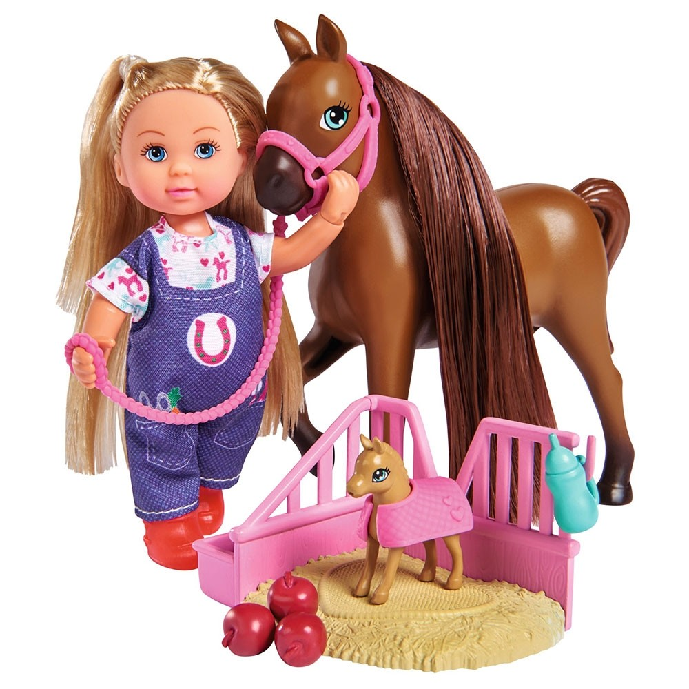 Set Simba Evi Love Doctor Evi Welcome Horse papusa 12 cm cu figurina cal si accesorii