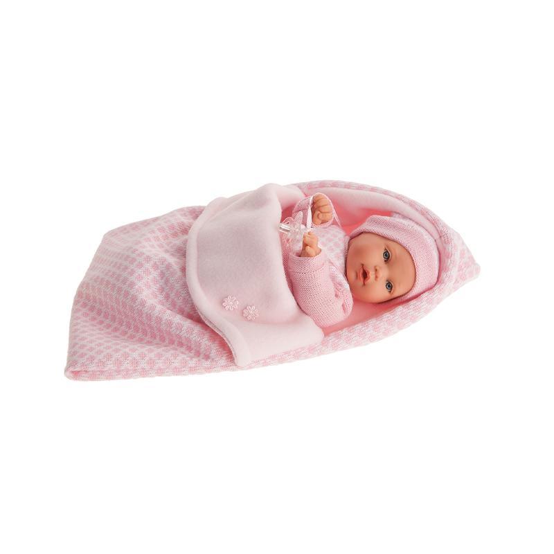 Papusa fetita Kika, cu saculet de dormit roz, cu sunet, 27 cm, Antonio Juan