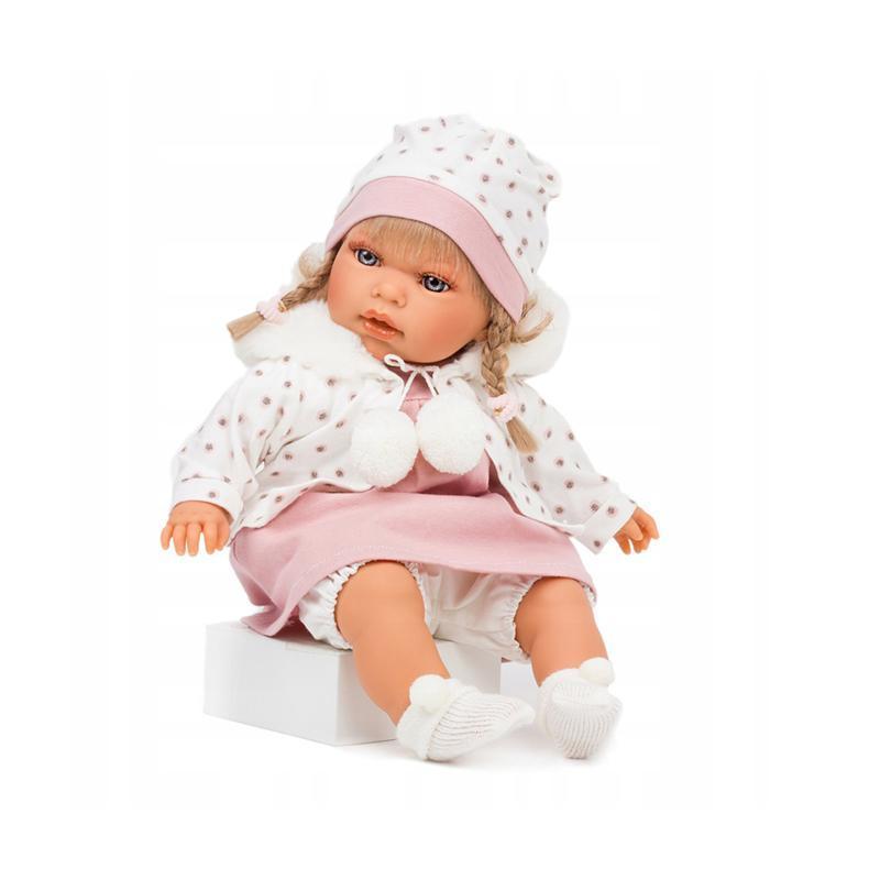 Papusa blonda Any cu rochita roz si caciulita, cu sunet, Antonio Juan