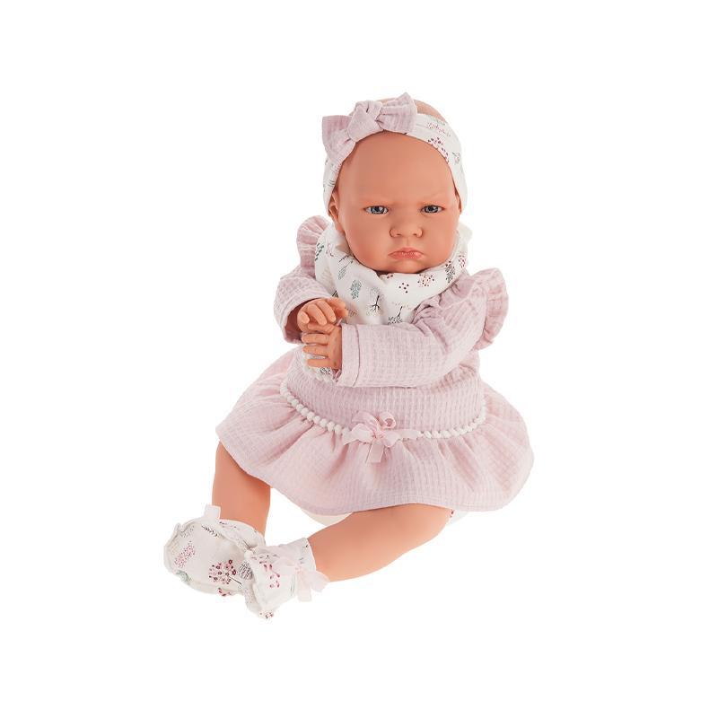 Papusa fetita Berta, cu hainute roz si sunet, 52 cm Antonio Juan