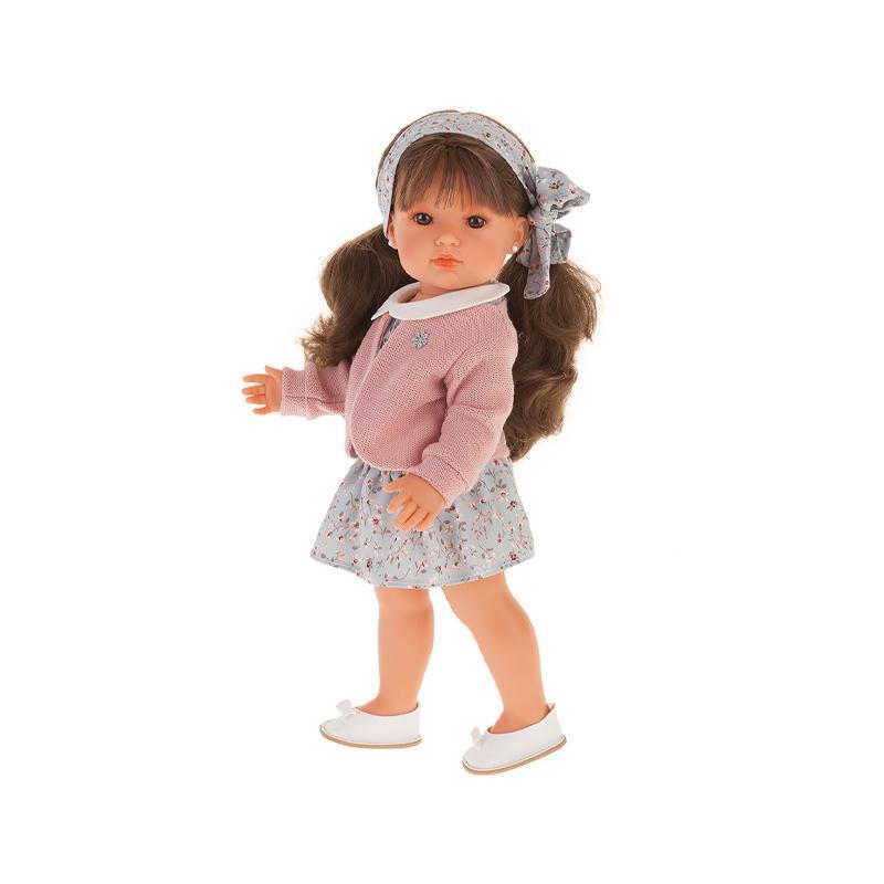Papusa fetita Bella cu par brunet lung si hainute roz, Antonio Juan