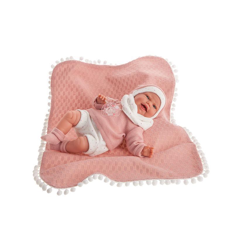 Papusa bebe realist Carla cu paturica, 34 cm, cu mecanism, +3 ani, Antonio Juan