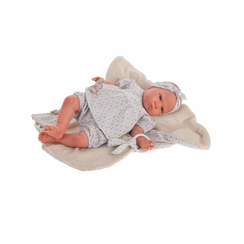 Papusa bebe realist Reborn Berta cu paturica si hainute albastre, Antonio Juan
