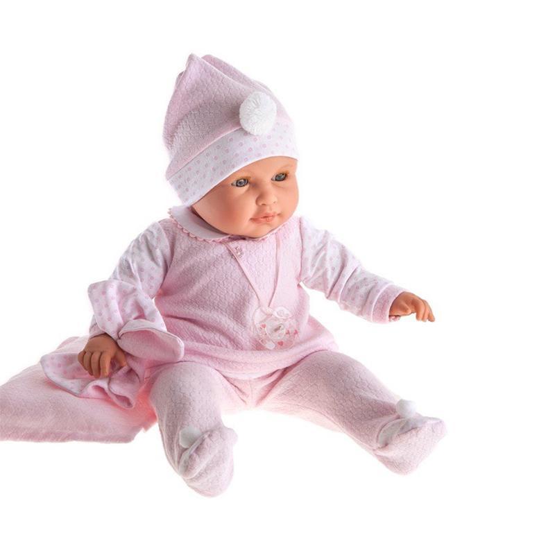 Papusa fetita Lola, cu ochi miscatori, hainute roz si sunet, 55 cm, Antonio Juan