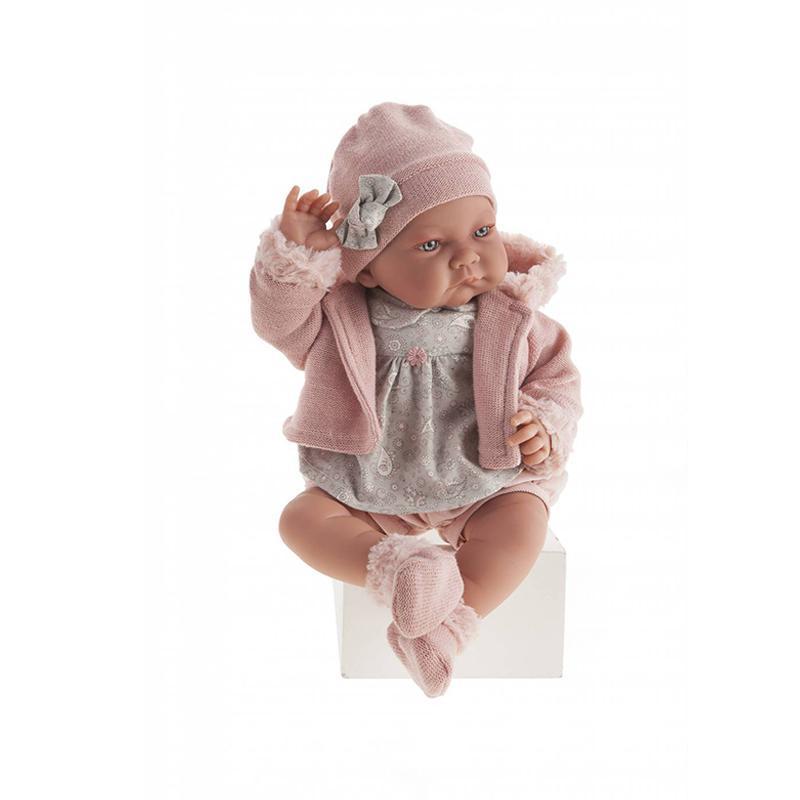 Papusa fetita Nica cu hainute de iarna, roz-gri, Antonio Juan