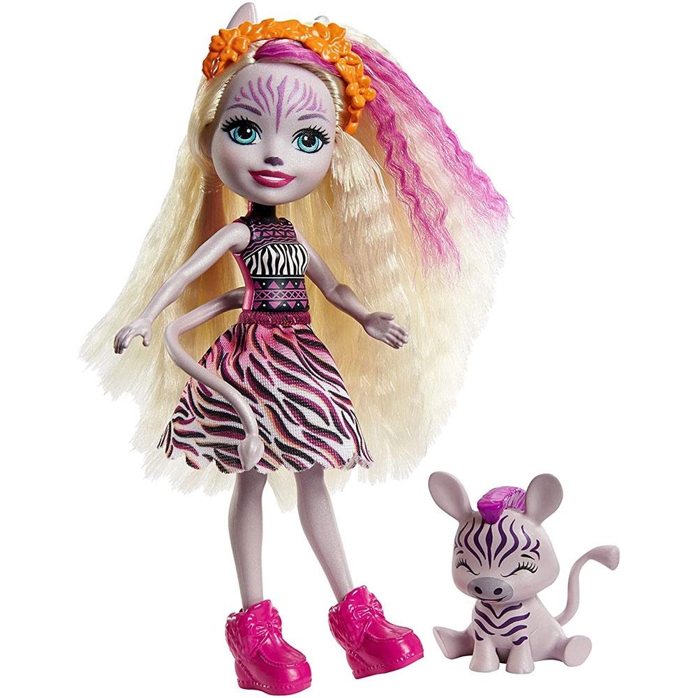 Papusa Enchantimals by Mattel Zadie Zebra cu figurina Ref