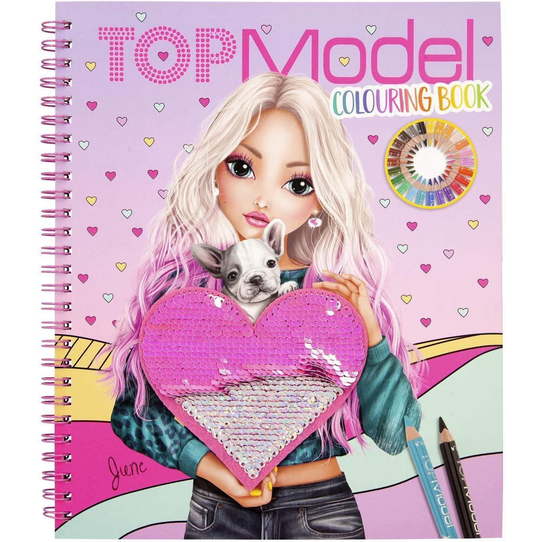 Carte de colorat cu paiete June Top Model Depesche PT11146 imagine