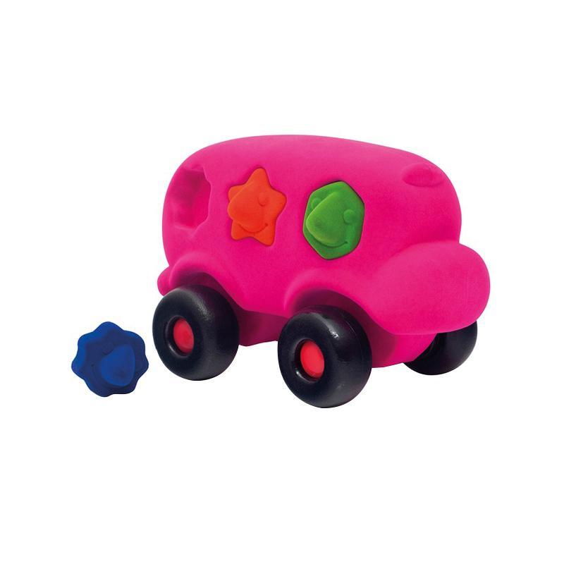 Autobuz interactiv sortator de forme, din cauciuc natural, roz, 1an +, Rubbabu