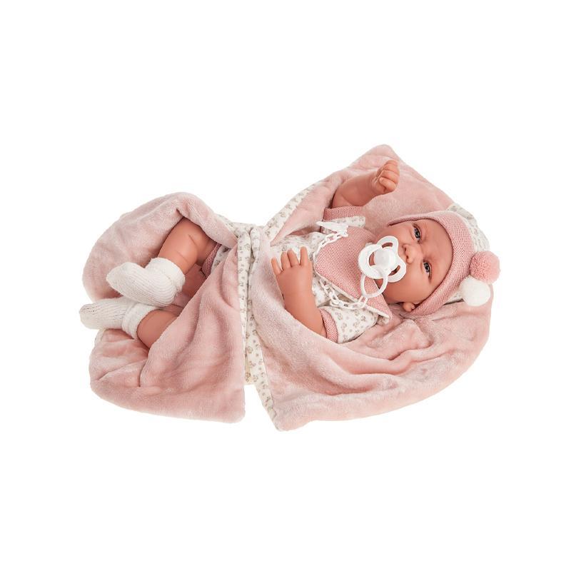 Papusa bebe realist Carla cu plapumioara, 40 cm Antonio Juan