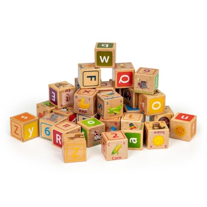 Cuburi educationale din lemn cu litere, cifre si imagini ecotoys hm014520