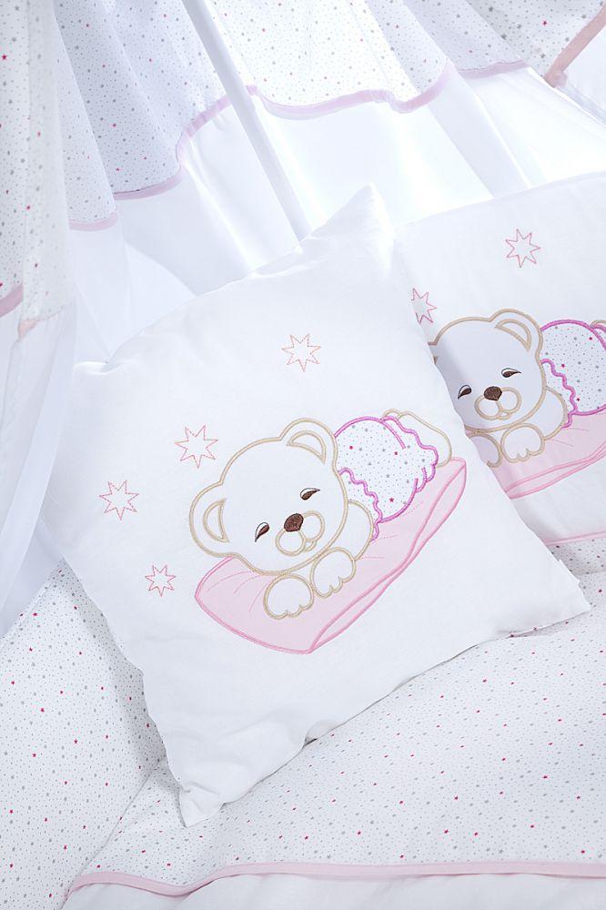 Klups Set Lenjerie Brodata 2 Piese Sleeping Teddy Bear Pink