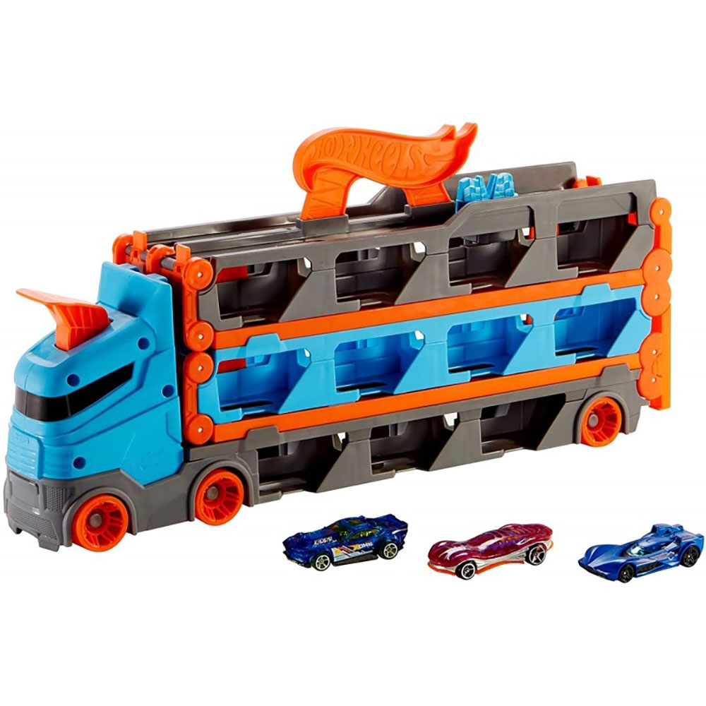 Camion si pista de masinute Hot Wheels by Mattel Speedway Hauler cu trailer si 3 masinute