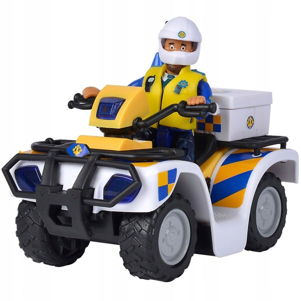 ATV Simba Fireman Sam Police cu figurina Malcolm si accesorii