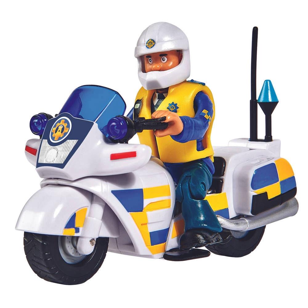 Motocicleta Simba Fireman Sam Police cu figurina Malcolm si accesorii