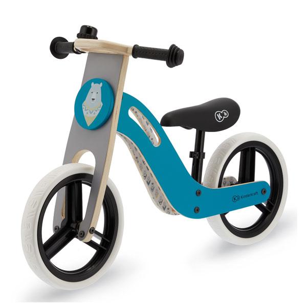 Bicicleta din lemn fara pedale UNIQ Turqoise